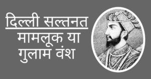 दिल्ली सल्तनत - मामलूक या गुलाम वंश