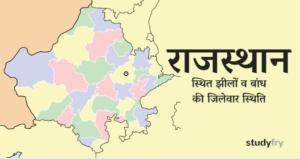 राजस्थान स्थित झीलों व बांध की जिलेवार स्थिति