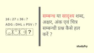 सम्बन्ध या सादृश्य शब्द, अक्षर, अंक एवं चित्र सम्बन्धी प्रश्न कैसे हल करें ?