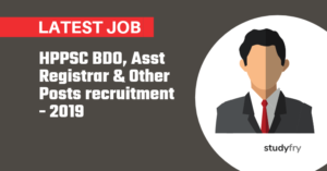 HPPSC BDO, Asst Registrar & Other Posts recruitment - 2019
