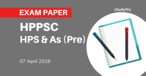 HPPSC Himachal Pradesh HPS & AS (Pre) Exam 7 April 2019 (Answer Key)