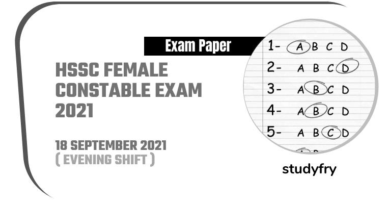 HSSC Female Constable exam 18/09/2021 (Answer Key)