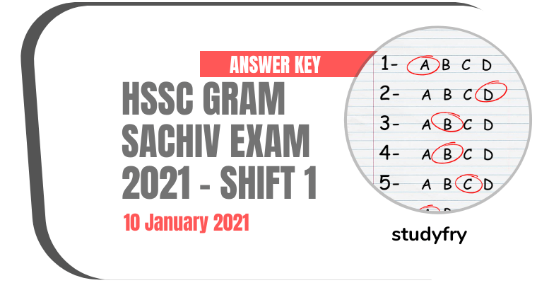 HSSC Gram Sachiv exam paper 10 January 2021 - Shift 1 (Answer Key)