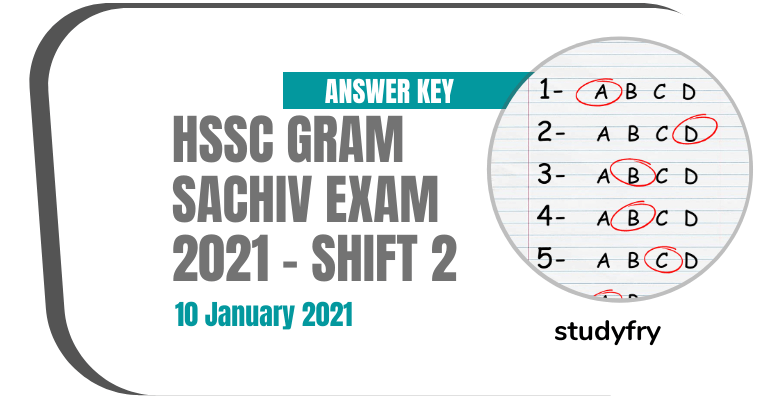HSSC Gram Sachiv exam paper 10 January 2021 - Shift 2 (Answer Key)