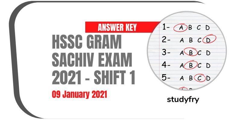 HSSC Gram Sachiv exam paper 9 January 2021 Shift 1 (Answer Key)