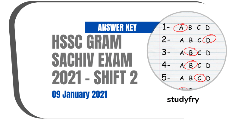 HSSC Gram Sachiv exam paper 9 January 2021 - Shift 2 (Answer Key)