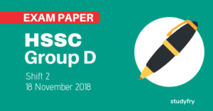 HSSC Group D 18 November 2018 exam paper (Answer Key) - Shift 2