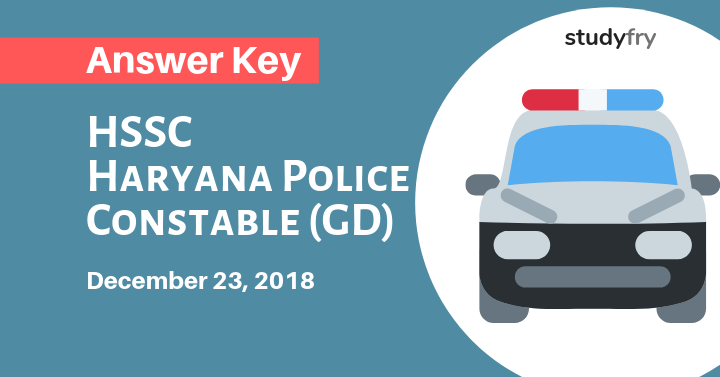 HSSC Haryana Police Constable 23 December 2018 exam paper Official Answer key