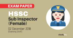 HSSC Haryana Police Sub Inspector (Female) exam paper - 2018