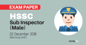 HSSC Haryana Police Sub Inspector (Male) exam paper - 2018