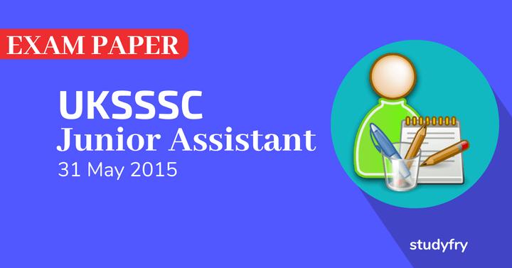 UPSSSC kanistha sahayak Junior Assistant exam paper 2015