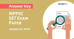 MPPSC SET Exam Paper 23 January 2019 Answer Key