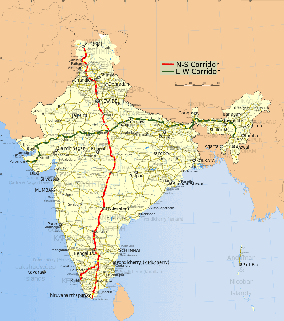 North-South and East-West Corridor Map