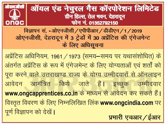 ONGC Uttarakhand Apprentice Recruitment 2019