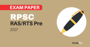 RPSC RAS/RTS preliminary exam paper-1 2007