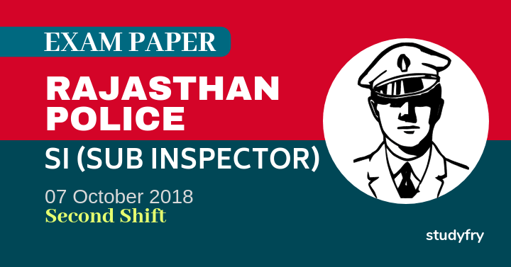 RPSC SI exam paper 2018 (Answer Key) - Second Shift