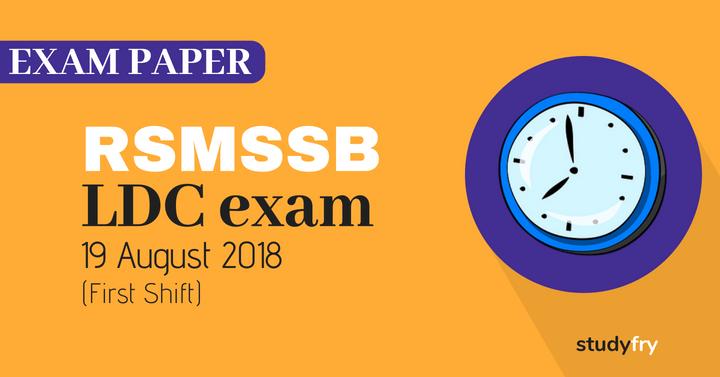 RSMSSB LDC exam paper H to M - 2018 (Answer Key) First Shift