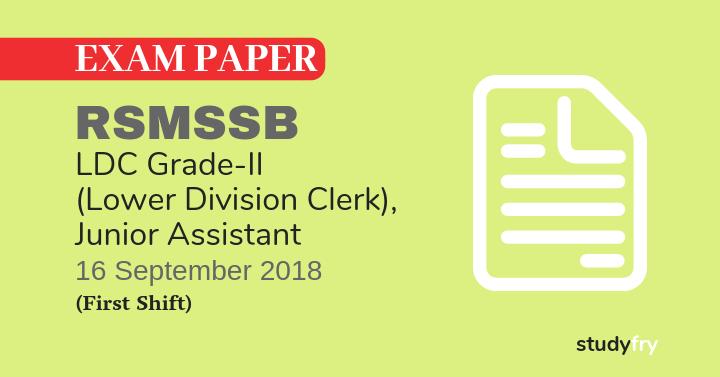 RSMSSB LDC exam paper S to Z - 2018 (Answer Key) First Shift