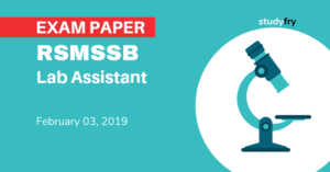 RSMSSB Lab Assistant exam paper 3 February 2019