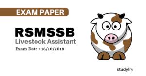 RSMSSB Livestock Assistant एग्जाम पेपर 2016
