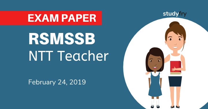 RSMSSB NTT Teacher exam paper 2019 Answer Key