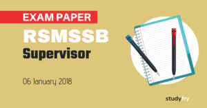 RSMSSB Women Supervisor Exam Paper - 6 January 2019 (Answer Key)