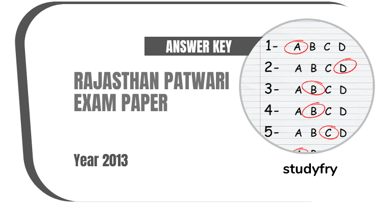 Rajasthan Patwari (राजस्थान पटवारी या पटवार) exam paper 2013