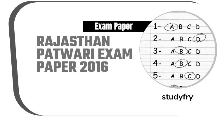 Rajasthan Patwari exam paper 2016