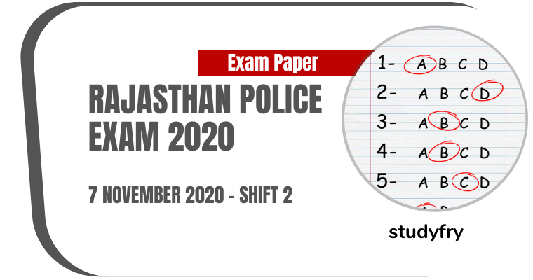 Rajasthan Police Constable Exam Paper 7 November 2020 - Shift 2