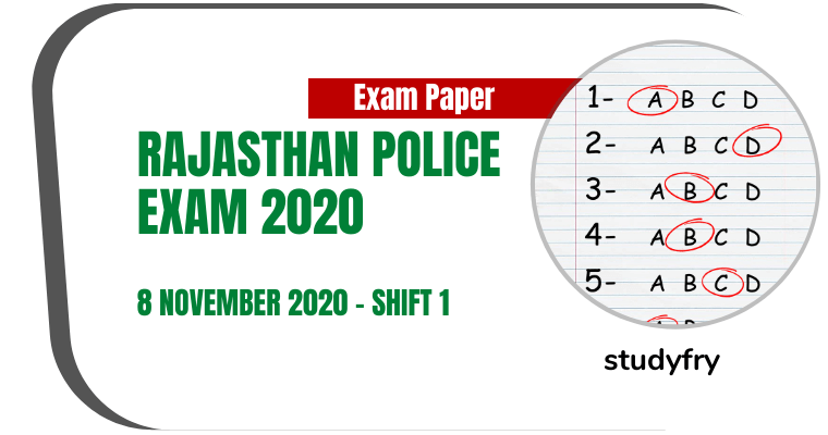 Rajasthan Police Constable Exam Paper 8 November 2020 - Shift 1 (Answer Key)