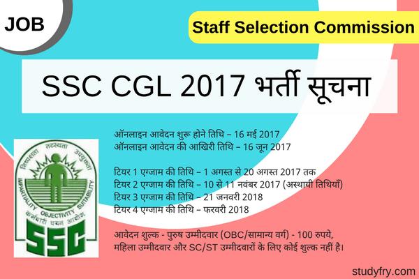 SSC CGL 2017 Recruitment Vacancies Notification