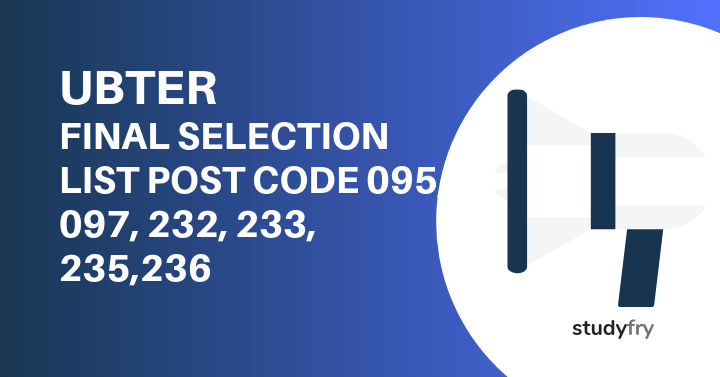 UBTER Post Code 95, 97, 232, 233, 235,236 - Final Selection List