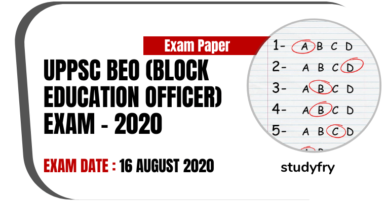 UPPSC BEO Exam paper 16 August 2020 (Answer Key) - Pre