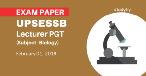 UPSESSB lecturer PGT Exam 2019 - Biology (Answer Key)