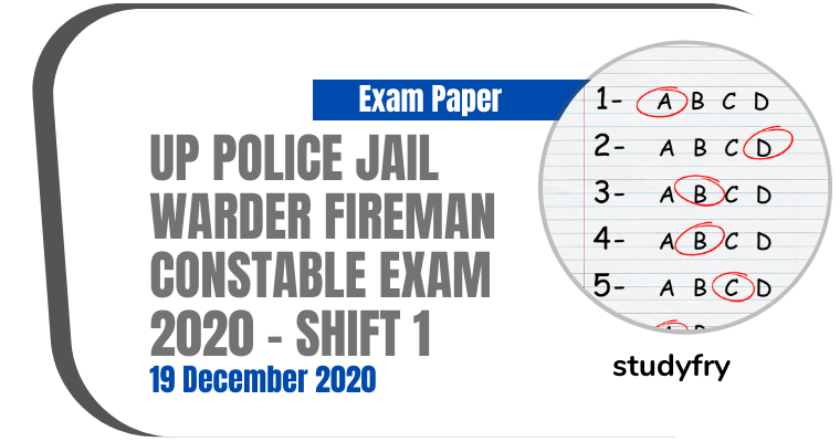 Up Police Jail Warder Fireman Constable Paper 19 December 2020 (Answer Key)