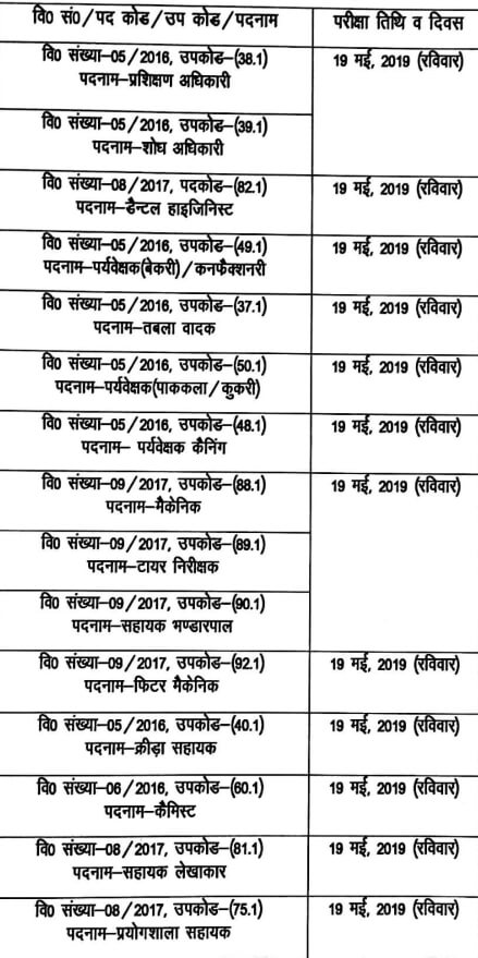 UKSSSC Group C New Exam Dates 24 April 2019 (Final Exam Calendar)