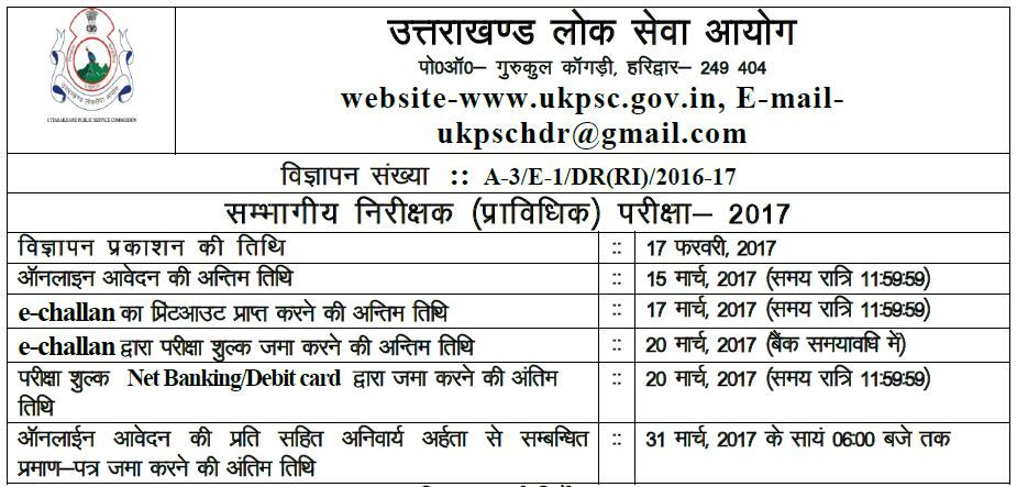 sambhagiya nirikshak UKPSC recruitment