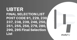 UBTER Post Code 91, 229, 230, 237, 238, 239, 246, 250, 251, 255, 256, 279, 280, 290, 295 Final Selection List