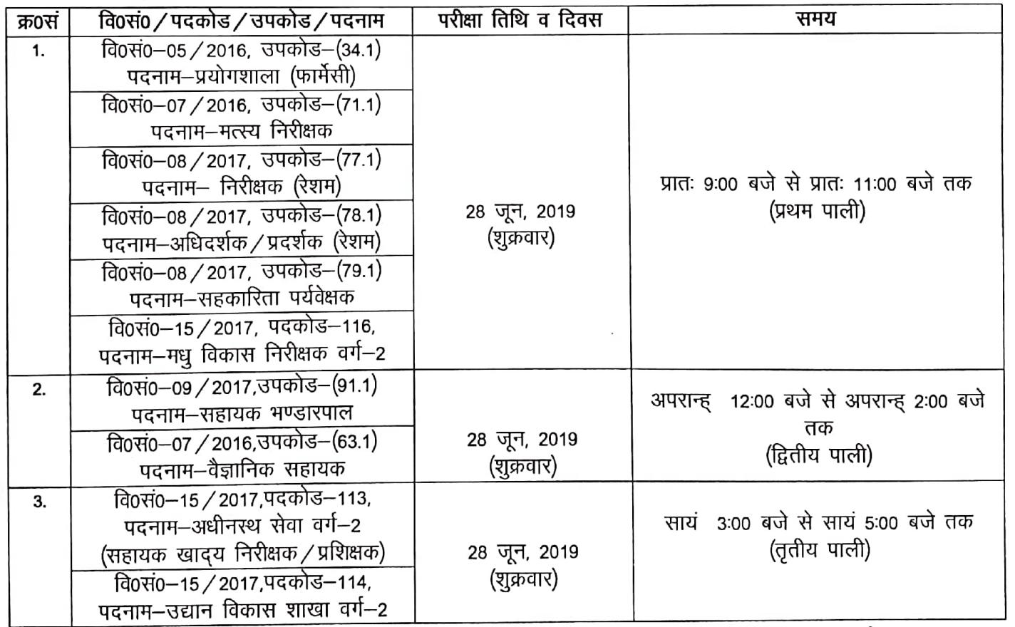 uksssc 23 June 2019 exam new dates